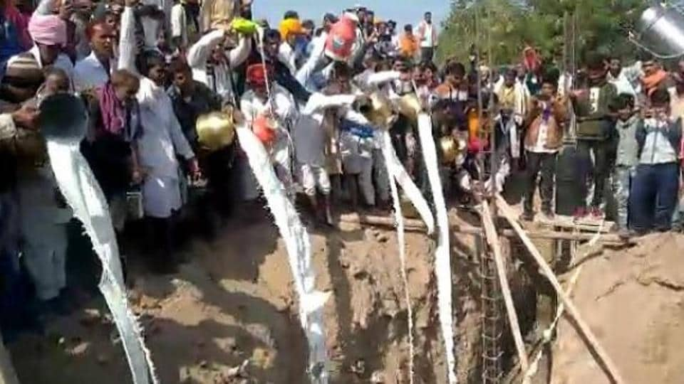 11,000 litres of milk, curd poured in foundation pit for Rajasthan temple