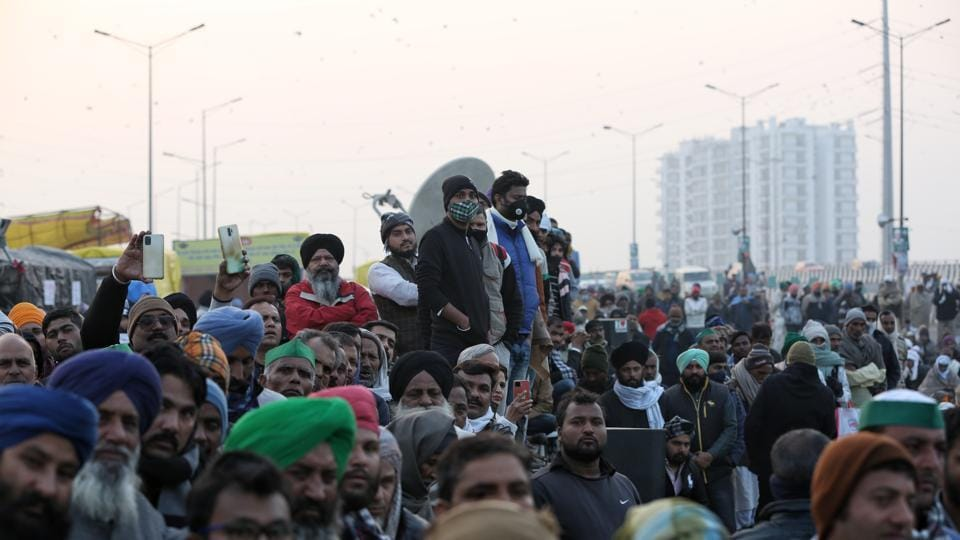 Farmers congregate during the ongoing protest against the new farm laws, at Ghazipur border, near New Delhi.