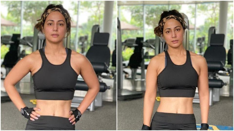Hina Khan flaunts washboard abs in new post