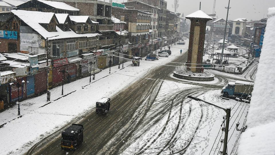 An aerial view of snow-covered roads at Lal Chowk after fresh snowfall in Srinagar.
