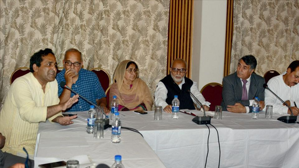 A round-table conference being held to discuss implementation of Goods and Services Tax in Jammu and Kashmir, in Srinagar on Thursday.