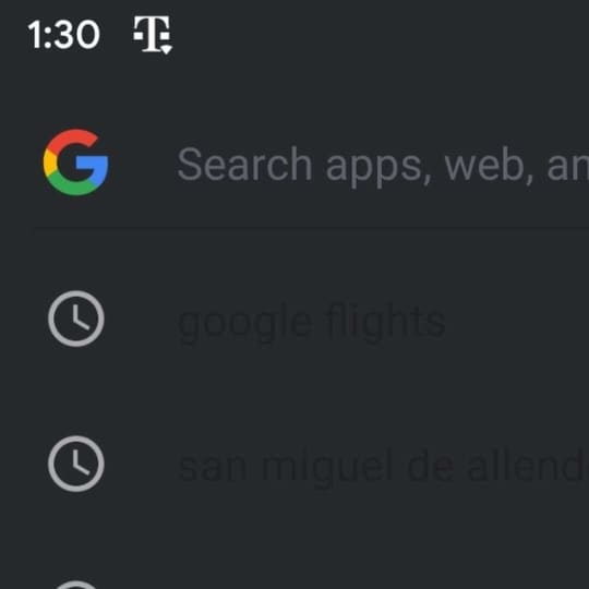 Google Search app dark mode works with the phone's default theme and can be manually toggled as well.