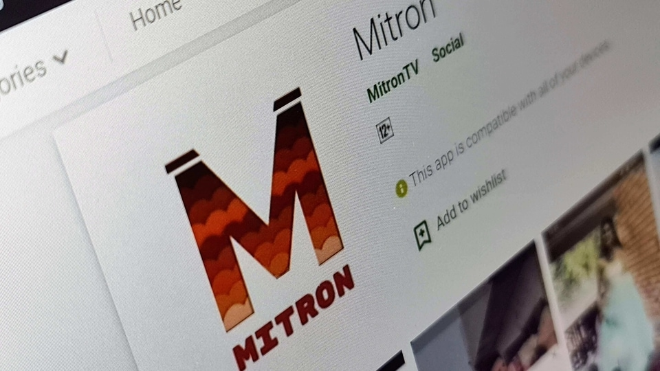 Mitron App listing on Google Play Store.