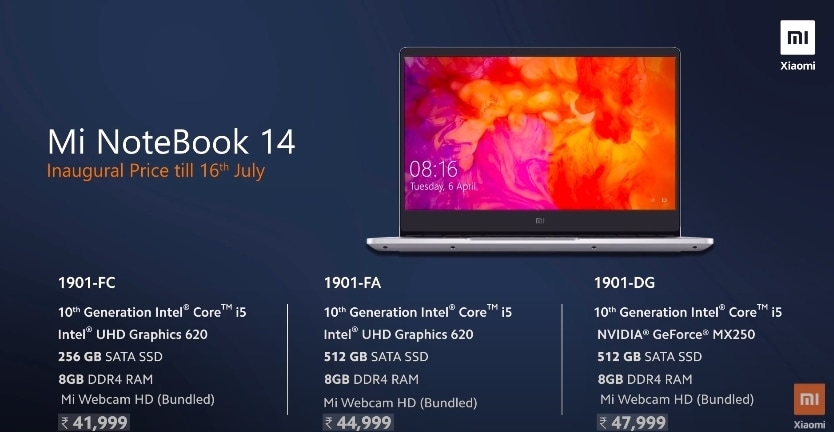 Price and specifications overview of Mi NoteBook 14