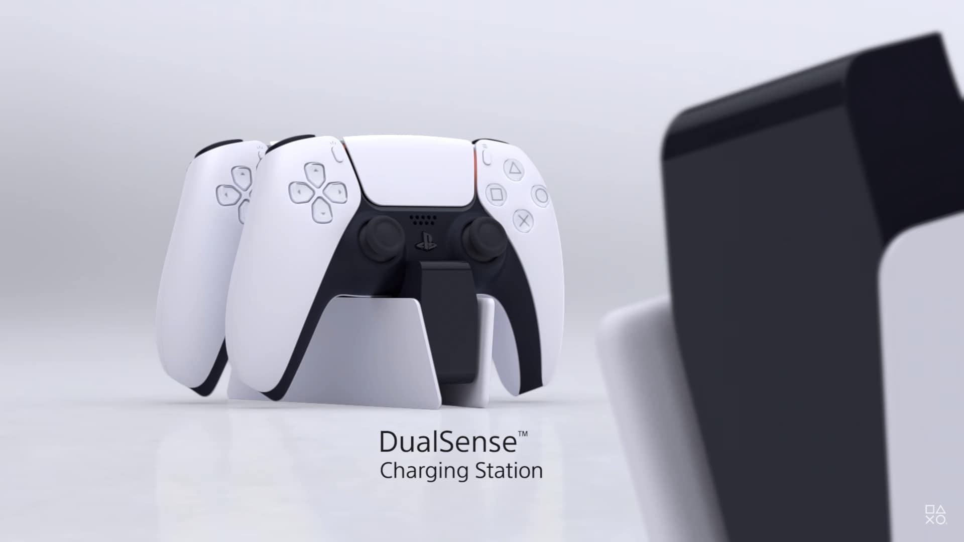 The new DualSense Controller charging dock can charge two controllers at once.