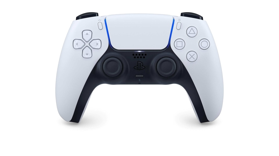 The DualSense controller for the Sony PlayStation 5 console is seen in this undated handout image courtesy of Sony Interactive Entertainment.