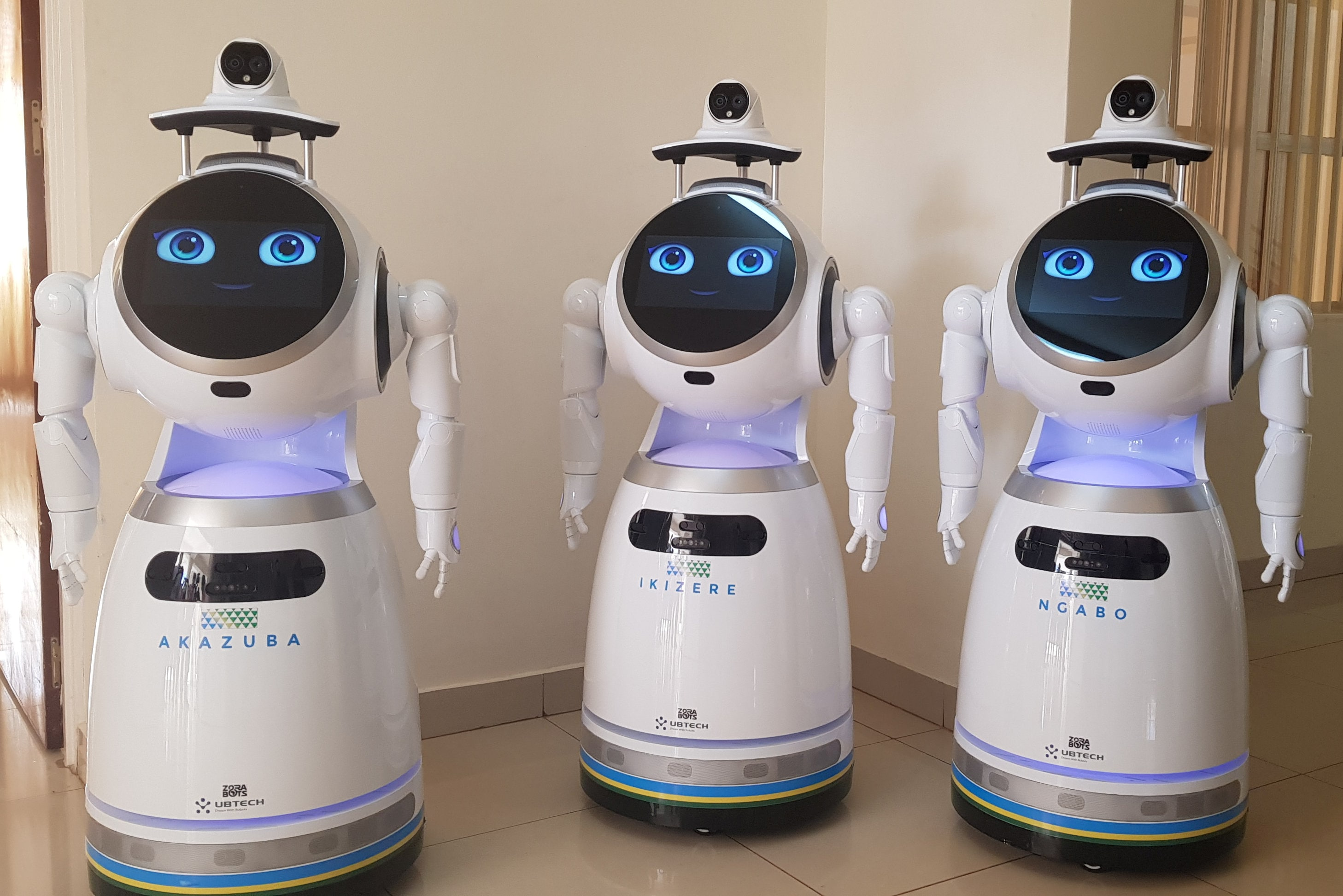 High-tech robots developed by Zora Bots, a Belgium-based company, and donated by the United Nations Development Program (UNDP) are seen during a demonstration at the Kanyinya treatment centre that treats coronavirus disease (COVID-19) patients, in Kigali, Rwanda