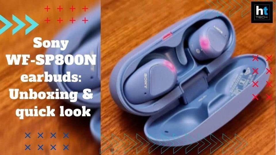 Sony WF-SP800N earbuds.