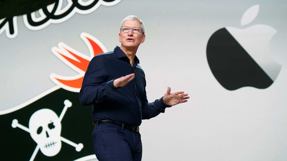 Apple CEO Tim Cook delivers the keynote address during the 2020 Apple Worldwide Developers Conference (WWDC) at Steve Jobs Theater in Cupertino on Monday. (REUTERS Photo)