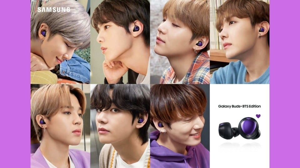 All seven members of BTS wearing the Galaxy Buds+.