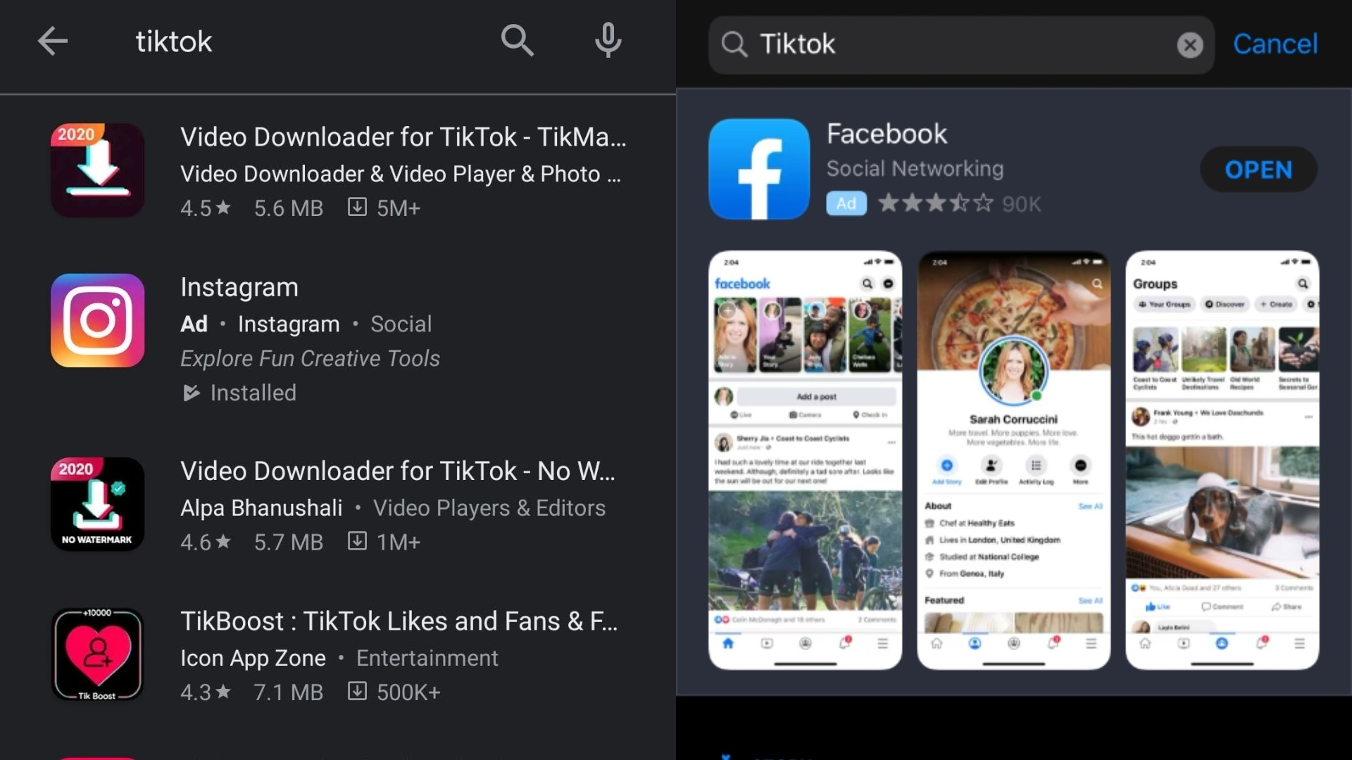 TikTok doesn't show up in app store search results