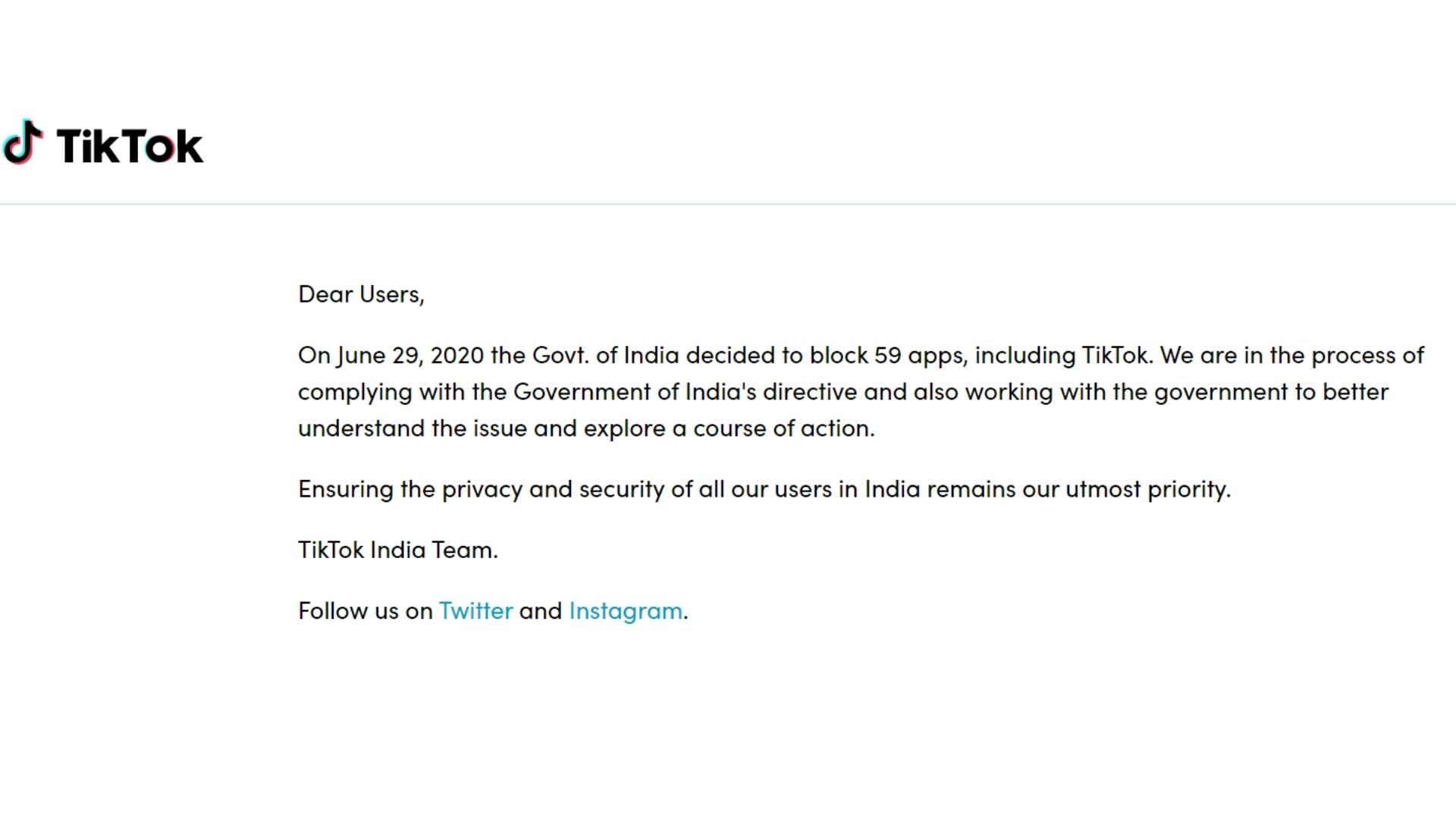 TikTok's India website goes down.