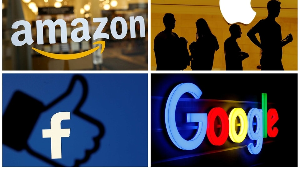 The logos of Amazon, Apple, Facebook and Google are seen in a combination photo.