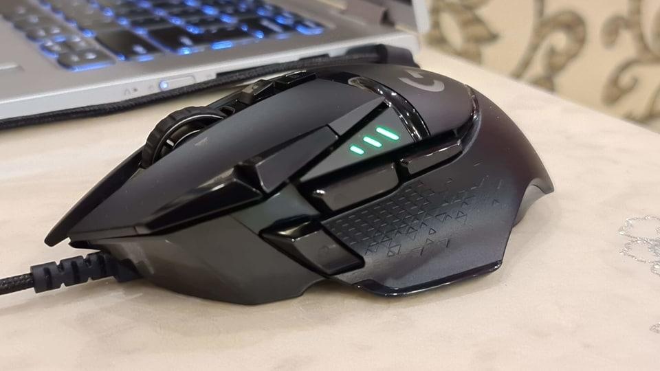 Logitech G502 Lightspeed gaming mouse.
