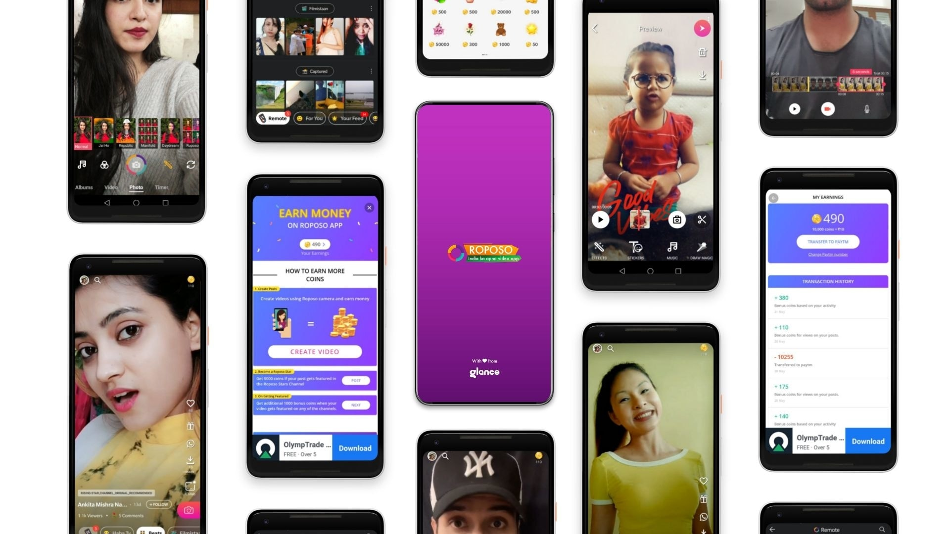 Roposo short video app has over 65 million downloads.