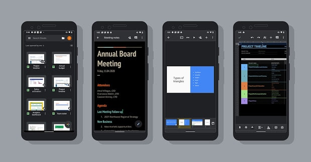 Docs, Sheets and Slides in Dark Theme