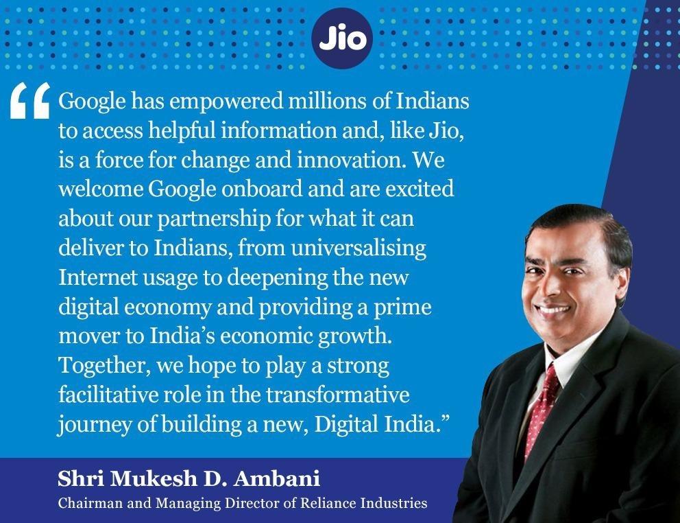 Mukesh Ambani talks about collaboration with Google.