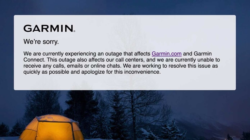 Garmin's outage began on Wednesday and carried on through the weekend.