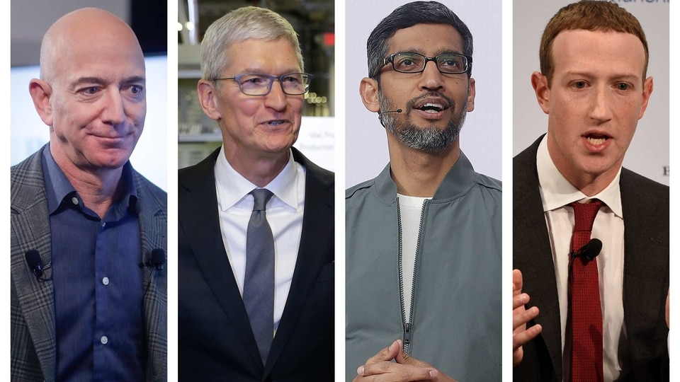This combination of 2019-2020 photos shows Amazon CEO Jeff Bezos, Apple CEO Tim Cook, Google CEO Sundar Pichai and Facebook CEO Mark Zuckerberg. On Wednesday, July 29, 2020, the four Big Tech leaders will answer for their companies' practices before Congress at a hearing by the House Judiciary subcommittee on antitrust.