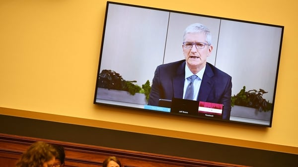 Tim Cook, chief executive officer of Apple, speaks via videoconference during a House Judiciary Subcommittee hearing in Washington, D.C., US, on Wednesday, July 29, 2020.