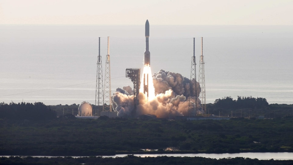 A United Launch Alliance Atlas V rocket carrying NASA's Mars 2020 Perseverance Rover vehicle takes off from Cape Canaveral Space Force Station in Cape Canaveral, Florida.