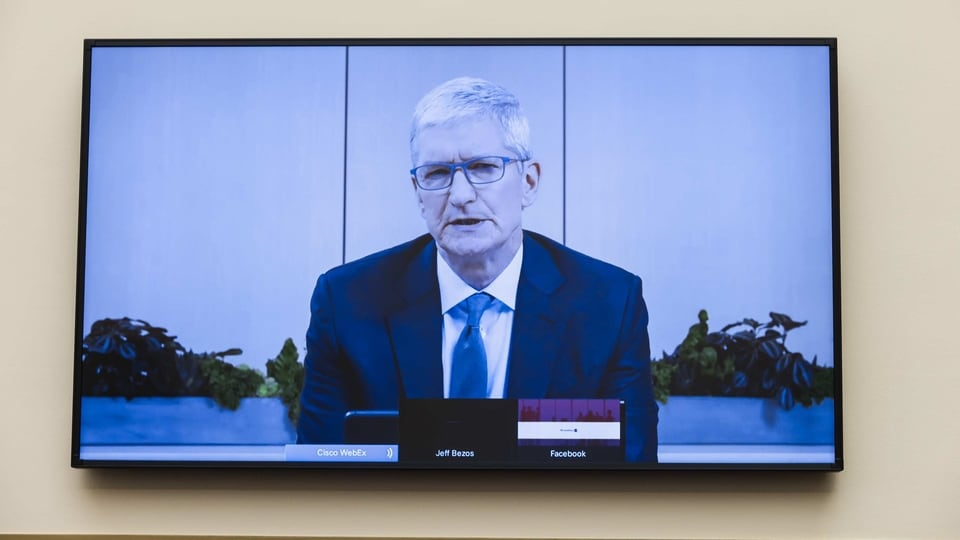 Tim Cook, chief executive officer of Apple Inc., speaks via videoconference during a House Judiciary Subcommittee hearing in Washington, D.C., U.S., on Wednesday, July 29, 2020. Chief executives from four of the biggest U.S. technology companies face a moment of reckoning in an extraordinary joint appearance before Congress that will air bipartisan concerns that they are using their dominance to crush rivals at the expense of consumers.