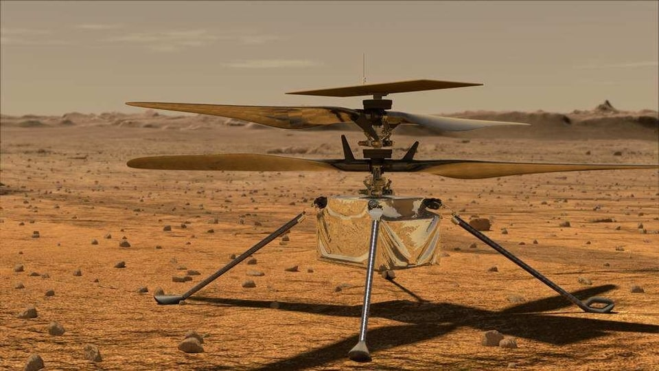 This illustration shows Ingenuity awaiting takeoff on Mars.