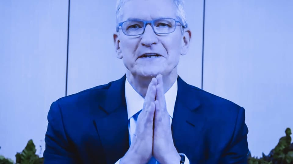 Tim Cook, chief executive officer of Apple, speaks during a House Judiciary Subcommittee hearing in Washington DC, on Wednesday, July 29, 2020.
