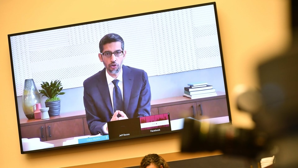 Sundar Pichai, chief executive officer of Alphabet, speaks via videoconference during a House Judiciary Subcommittee hearing in Washington, DC, US, on July 29, 2020. Chief executives from four of the biggest U.S. technology companies face a moment of reckoning in an extraordinary joint appearance before Congress that will air bipartisan concerns that they are using their dominance to crush rivals at the expense of consumers.
