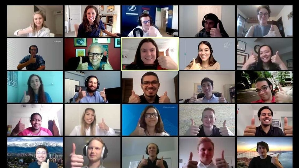 Employees and interns of JP Morgan participate in a video conference via Zoom, in this screen grab taken August 7, 2020. Zoom has seen global usage of its services surge during coronavirus shutdowns, but the increasing popularity of the app has also shone a spotlight on the vulnerabilities in its software encryption.