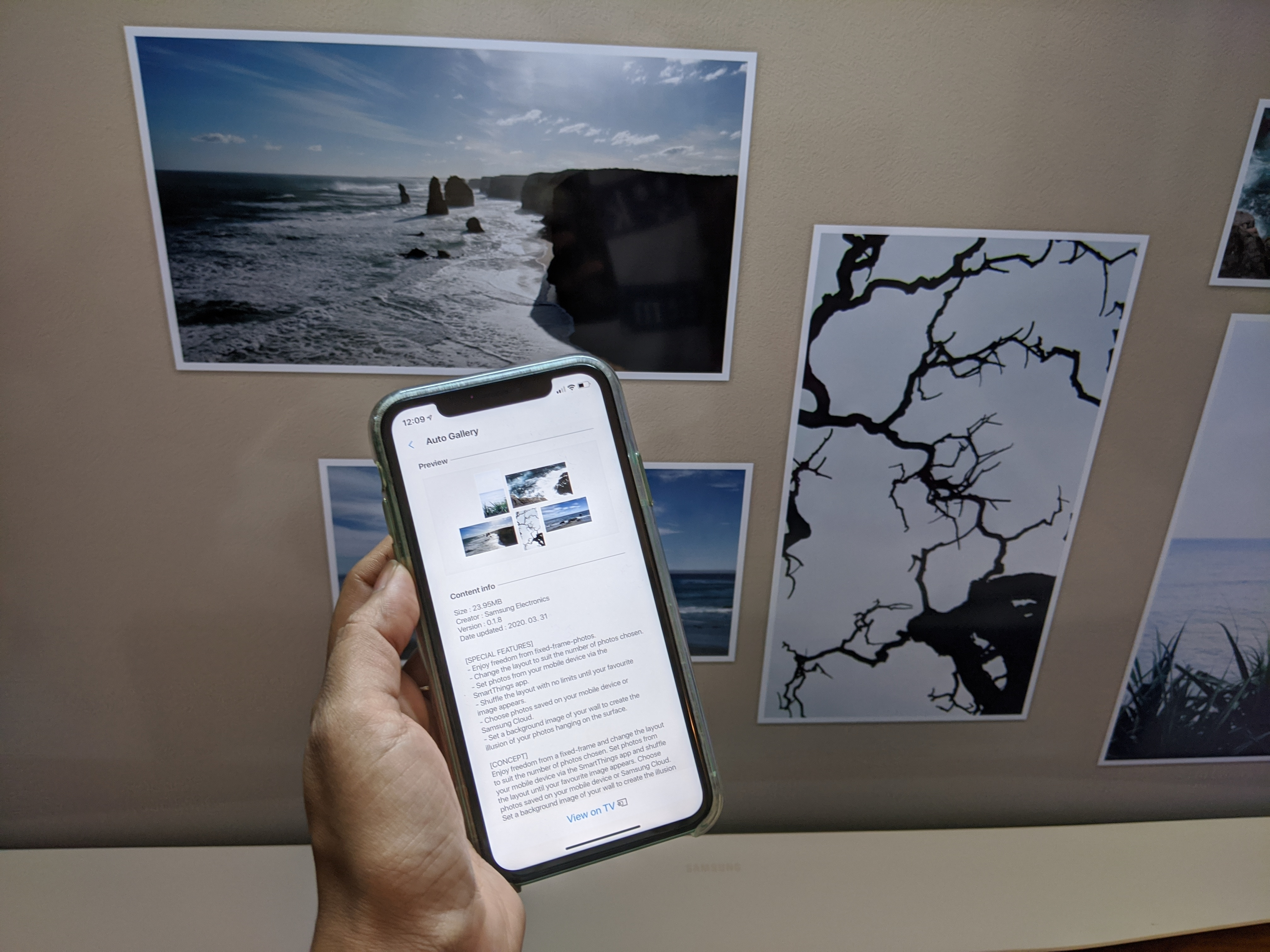 The Samsung Serif with its all-encompassing thick white frame looks perfect for those pictures and makes a stronger case for why it should be on the wall.