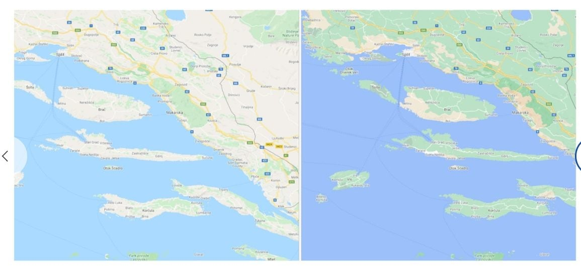 Google Maps now distinguishes between beach and green areas in surrounding