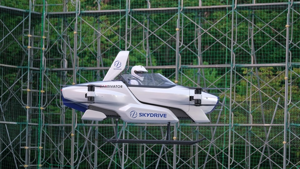 A manned flying car SD-03 is seen during a test flight session at Toyota test field in Toyota, central Japan.