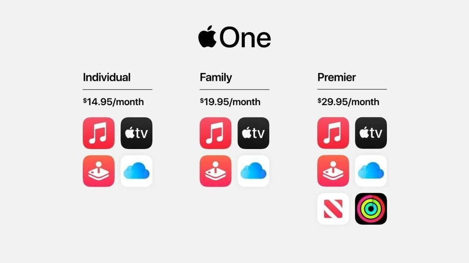 Prices for the Apple One subscription bundle start at $14.95 per month.