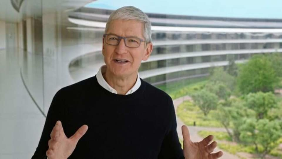 Apple CEO Tim Cook speaks during a special event at the company's headquarters of Apple Park in a still image from video taken in Cupertino, California, US.