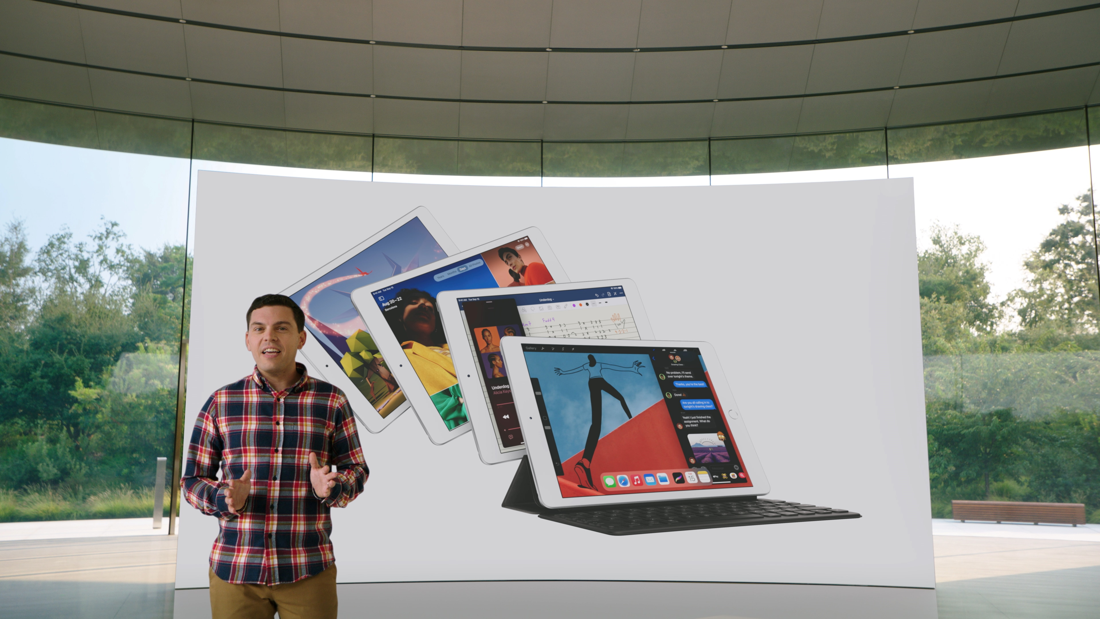 Ted Merendino unveils the eighth-generation iPad during a special event at the company's headquarters of Apple Park.