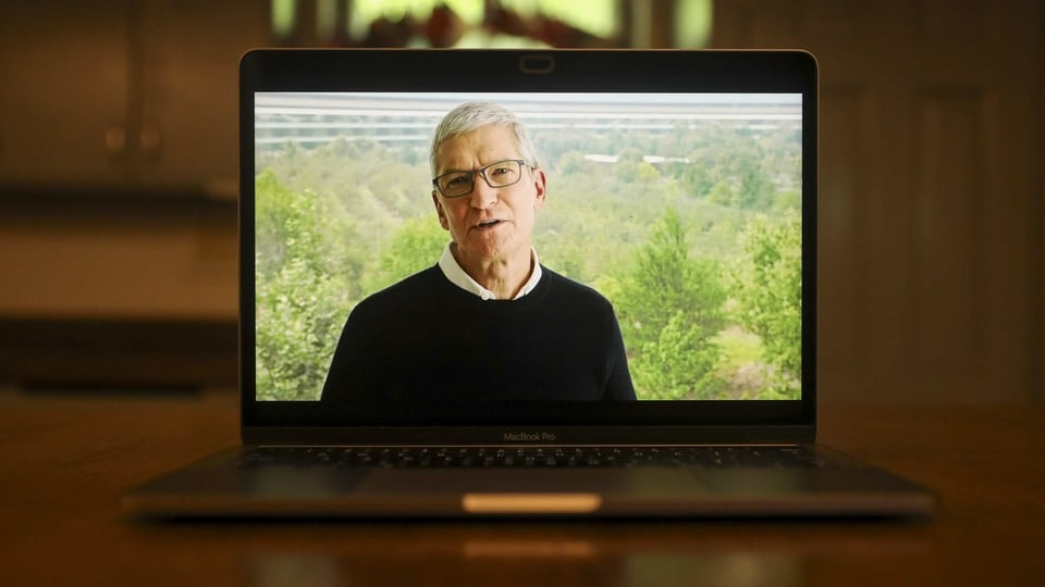 Tim Cook, chief executive officer of Apple Inc., speaks during a virtual product launch seen on a laptop computer in Tiskilwa, Illinois, U.S., on Tuesday, Sept. 15, 2020.