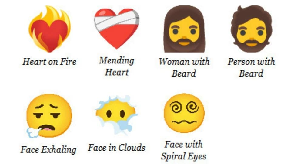 Emoji 13.1 features face with spiral eyes, woman with beard and more.