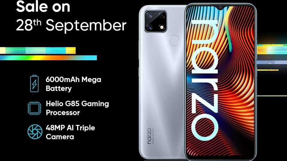 Prices for the Realme Narzo 20 start from <span class='webrupee'>₹</span>10,499.