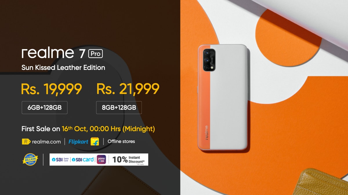 The Realme 7 Pro Sun Kissed Leather Edition.