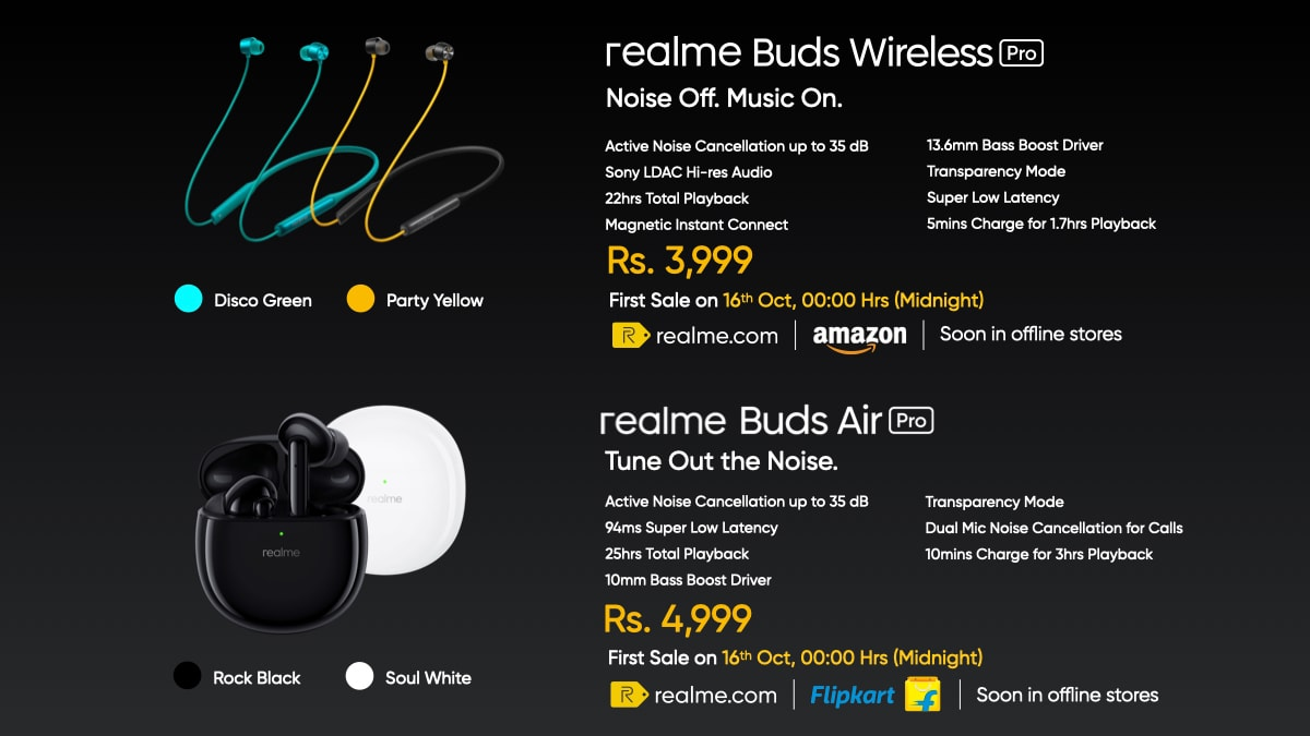 Realme Buds Wireless Pro and Realme Buds Air Pro.