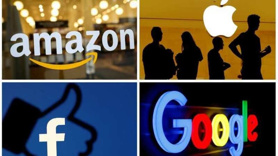 FILE PHOTO: The logos of Amazon, Apple, Facebook and Google in a combination photo from Reuters files.
