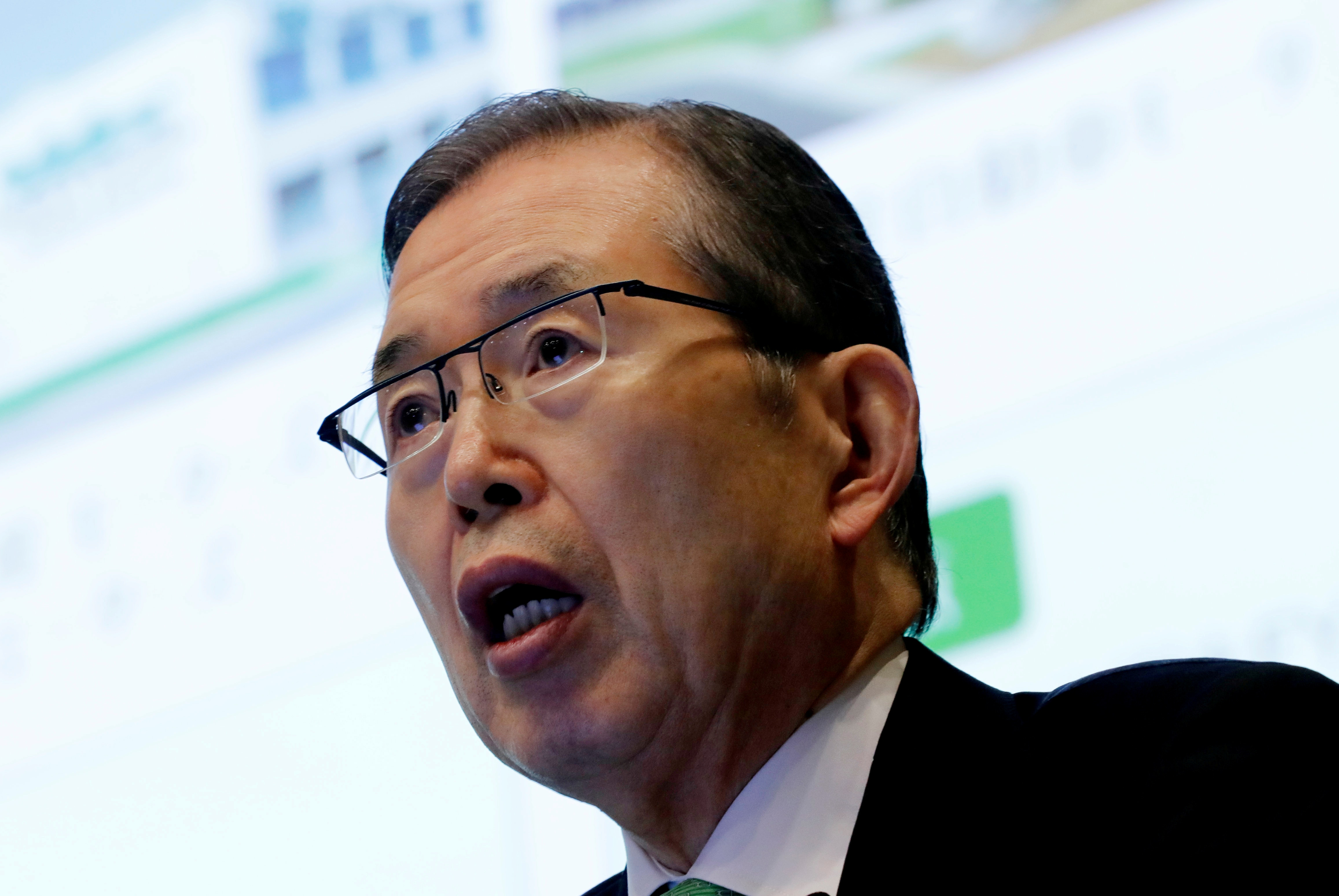 FILE PHOTO: Nidec Corp' s CEO Shigenobu Nagamori speaks at an earnings results news conference in Tokyo, Japan, July 25, 2018. REUTERS/Kim Kyung-Hoon/File Photo