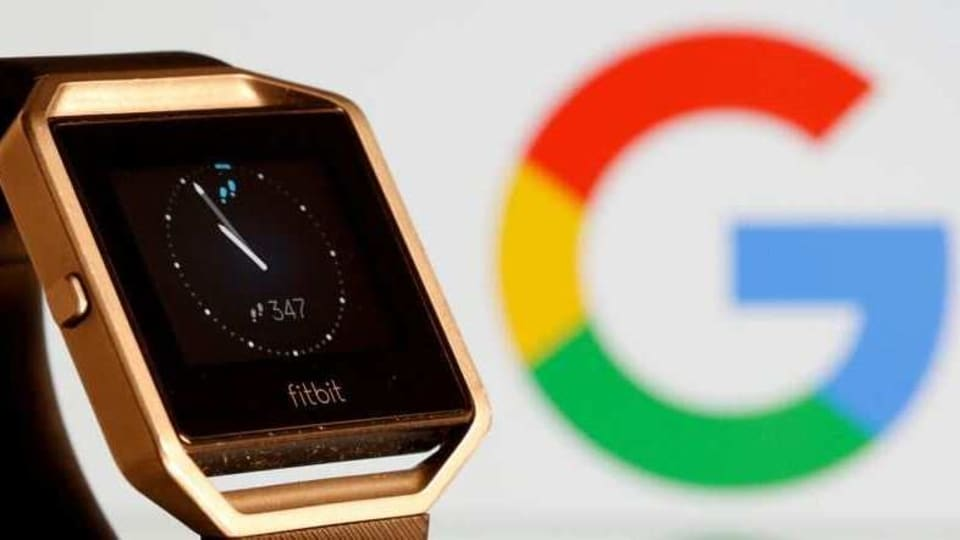 Fitbit Blaze watch is seen in front of a displayed Google logo in this illustration picture taken, November 8, 2019. REUTERS/Dado Ruvic/File Photo