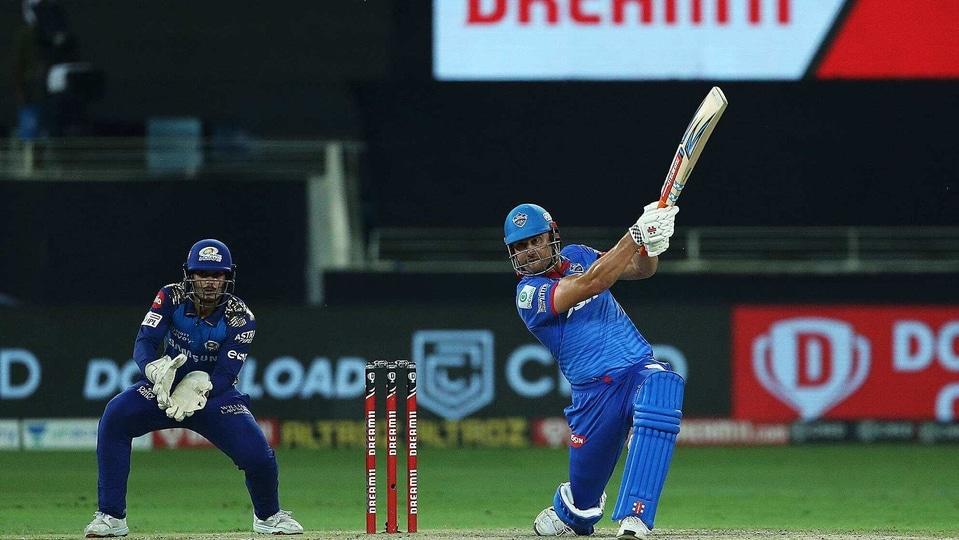 Marcus Stoinis of Delhi Capitals plays a shot during the qualifier 1 match of season 13 of IPL at Dubai International Cricket Stadium, in Dubai.