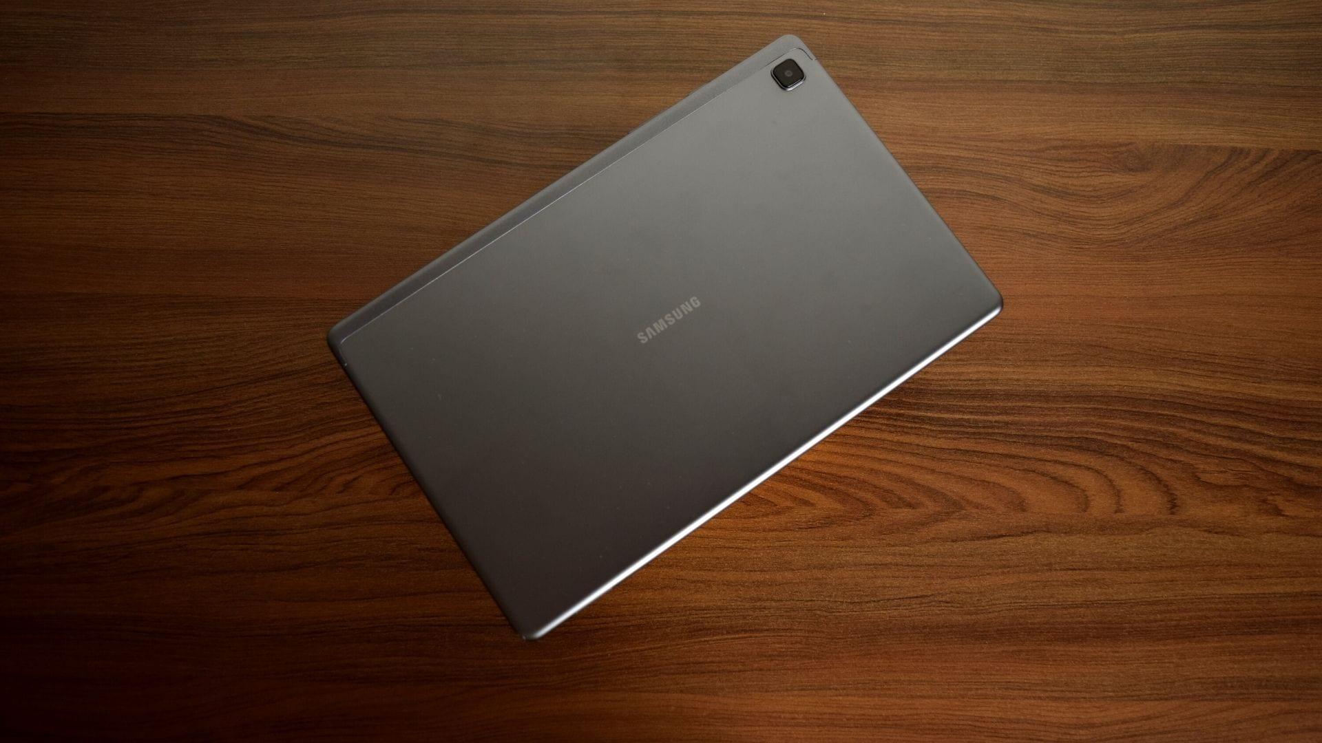 Samsung Galaxy Tab A7 in gray.