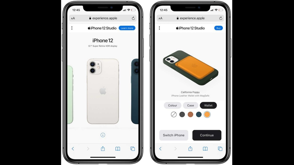The new iPhone 12 Studio page, which is accessible only on mobile or tablets, allows you to customise iPhone 12 models with various MagSafe cases and wallets.