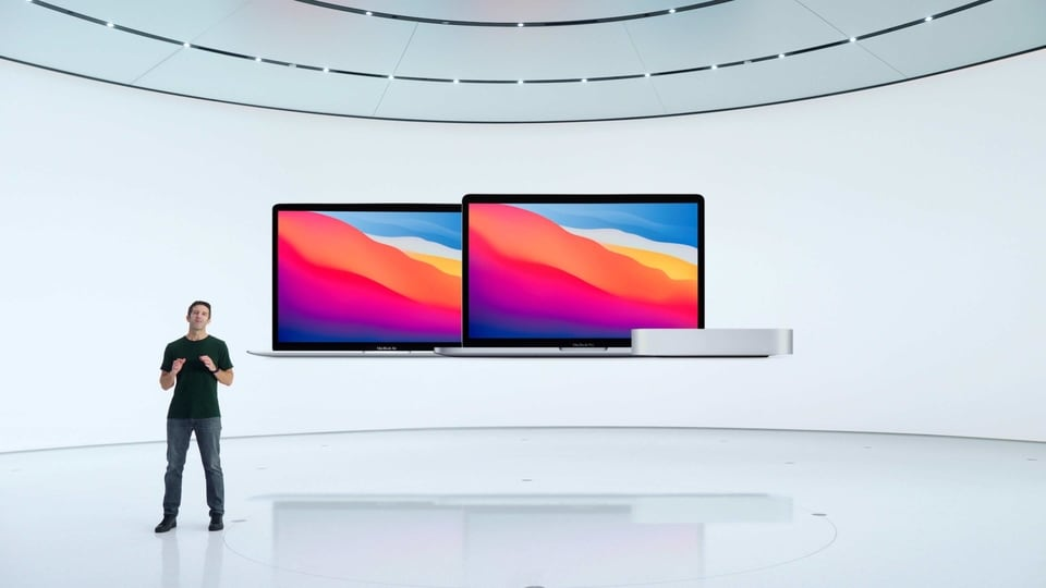 Apple's vice president of Hardware Engineering John Ternus introducing three new Macs, kicking off the company's transition to its own custom silicon for the Mac during a special event at Apple Park in Cupertino, California.