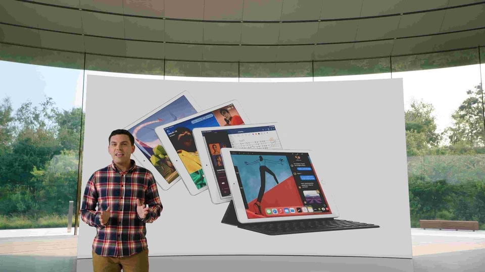 Ted Merendino unveils the eighth-generation iPad during a special event at the company's headquarters of Apple Park