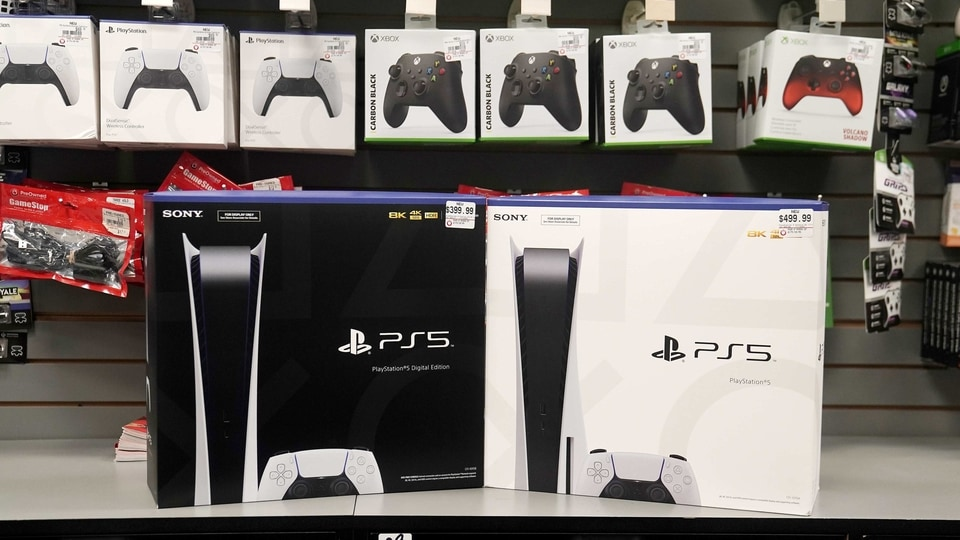 Inside a GameStop store Sony PS5 gaming consoles are pictured in the Manhattan borough of New York City.